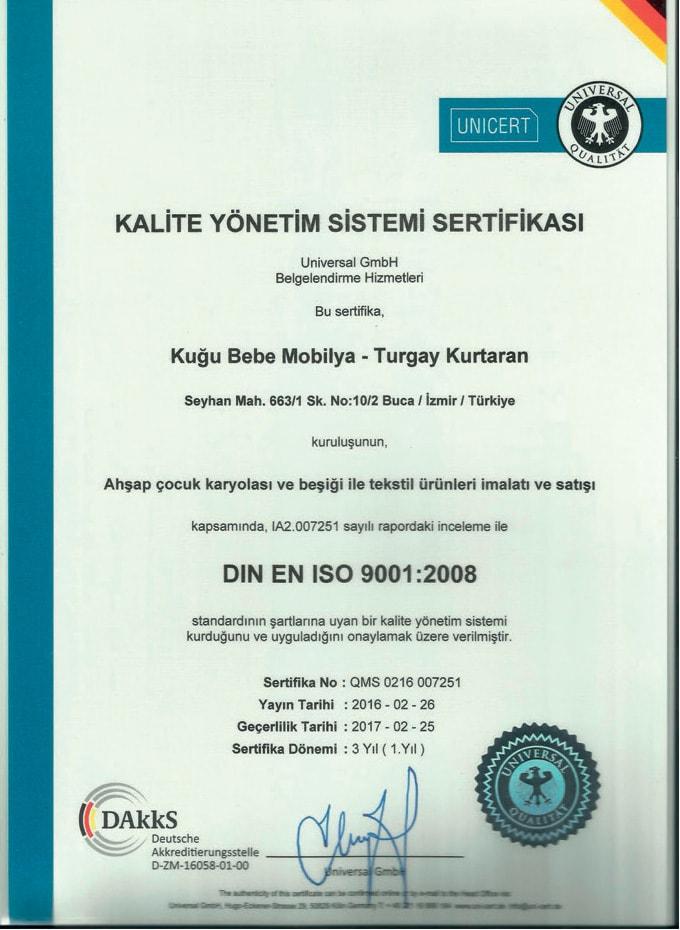 Kuğu Bebe ISO-9001 Belgesi